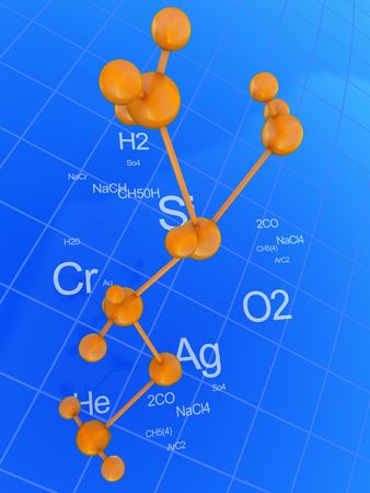 abstract 3d illustration of chemistry background, blue and orange colors Stock Illustration - 6754636
