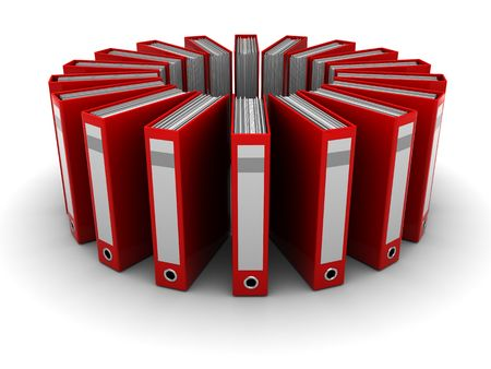 filing document: abstract 3d illustration of archive folders group over white background