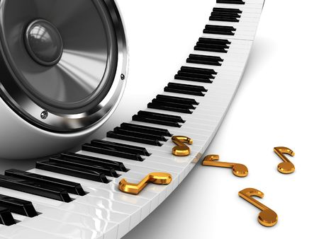 abstract 3d illustration music background with piano and audio speaker illustration