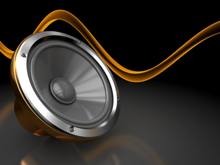 abstract 3d illustration of background with audio speaker and sound wave Stock Illustration - 6754592