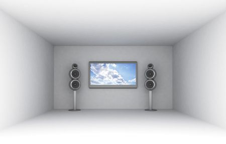 loudness: 3d illustration of empty room with tv and audio system Stock Photo