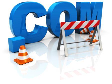 3d illustration of text '.com' construction,internet startup concept Stock Illustration - 6754590