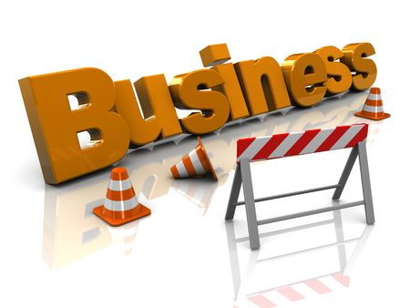 abstract 3d illustration of text 'business' and traffic cones, building business concept Stock Illustration - 6793223