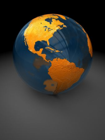 dark side: abstract 3d illustration of glass earth globe over dark background