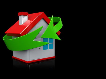 cymbol: abstract 3d illustration of home recycling cymbol over dark background