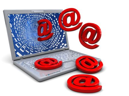 abstract 3d illustration of laptop computer with email signs illustration