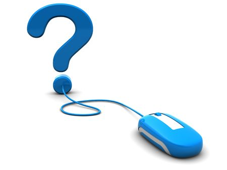 3d illustration of computer mouse connected to question mark, computer help concept illustration