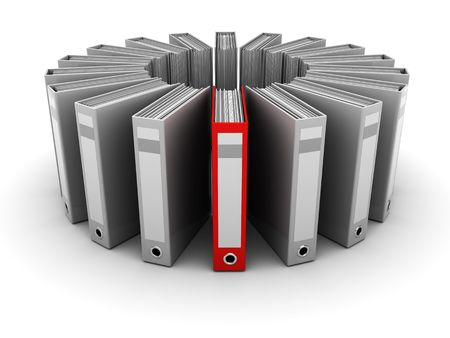 3d illustration of archive folders with one selected Stock Illustration - 6793229