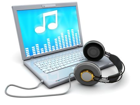 3d illustration of laptop computer with headphones, over white background illustration