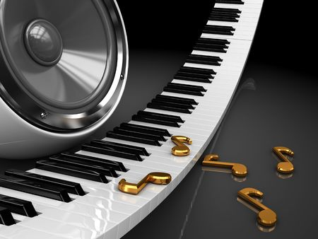 abstract 3d illustration of piano keys and audio speaker Stock Illustration - 6793254
