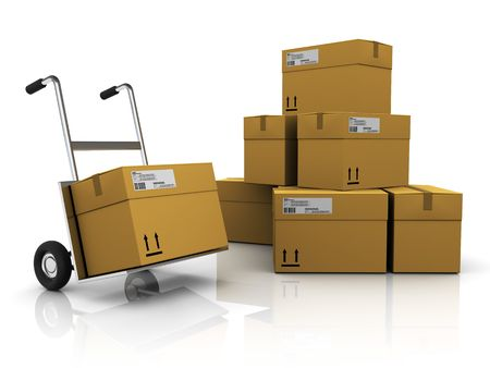 3d illustration of package delivery to warehouse, white background