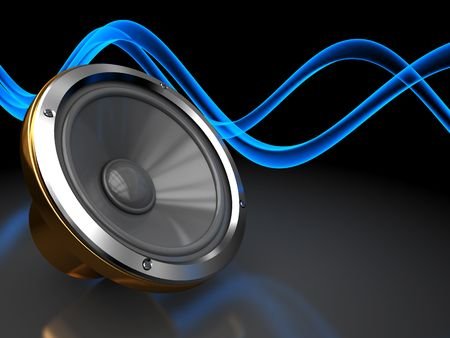 abstract 3d illustration of dark background with audio speaker and sound waves Stock Illustration - 6793267