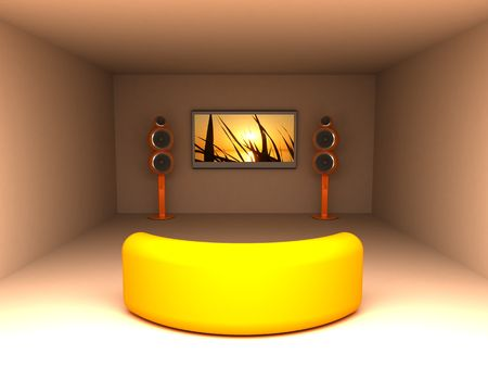 3d illustration of warm colors room with tv and sofa illustration