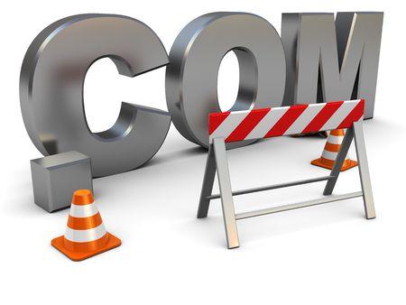 3d illustration of text .com construction, web design concept illustration