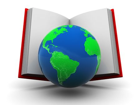 physical geography: abstract 3d illustration of opened book with earth globe