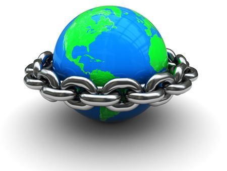 firewall icon: abstract 3d illustration of earth globe closed by chain ring