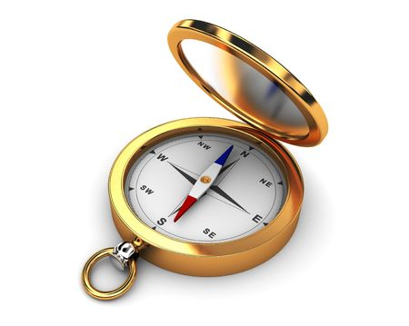 3d illustration of golden compass over white background Stock Illustration - 6793287