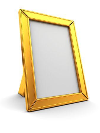 3d illustration of golden photo frame over white background Stock Illustration - 6793285