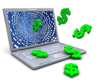 signos de pesos: Ilustraci�n 3D de ordenador port�til y signos de d�lar, el concepto de negocio de internet