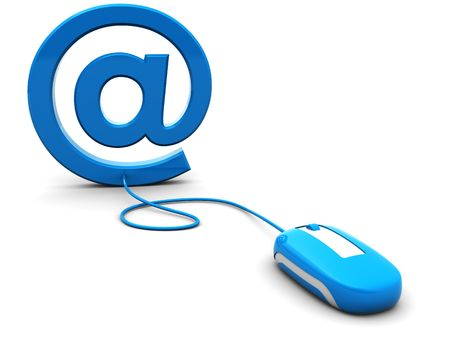 3d illustration of computer mouse connected to email sign illustration
