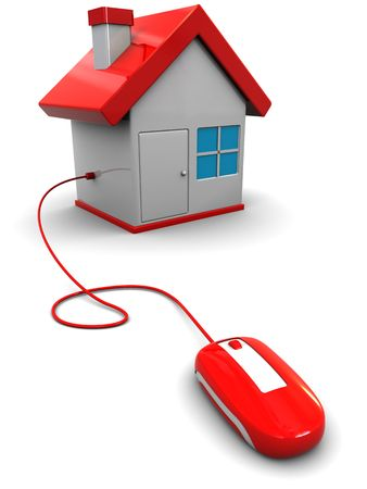 3d illustration of computer mouse connected to house, home control concept Stock Illustration - 6793271