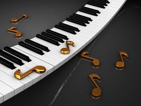 3d illustration of piaon and music note signs Stock Illustration - 6793278