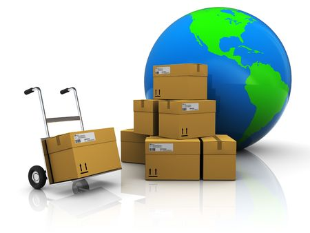 storage container: abstract 3d illustration of warehouse with earth globe Stock Photo