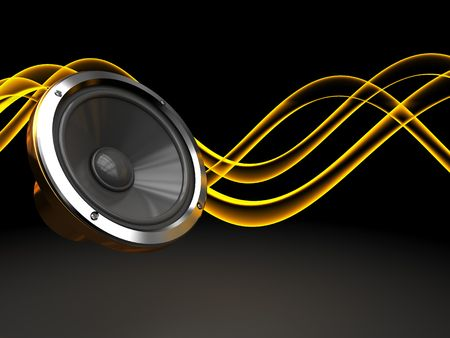 geluid: abstracte 3D-afbeelding van een donkere achtergrond met audio-luidspreker en geluids golven
