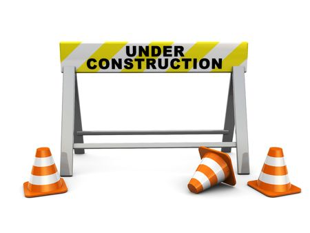safety at work: 3d illustration of under construction sign and traffic cones