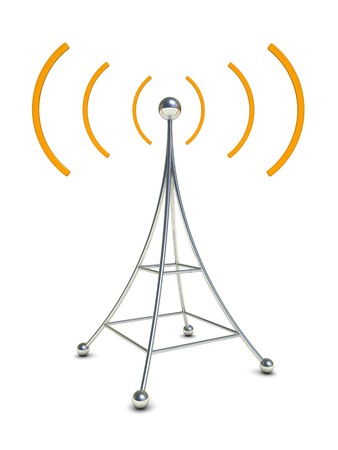 repeater: 3d illustration of radio antenna symbol over white background