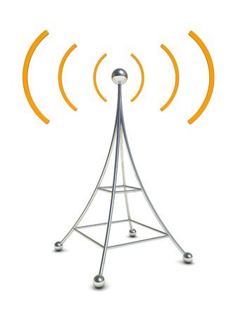 radiative: 3d illustration of radio antenna symbol over white background