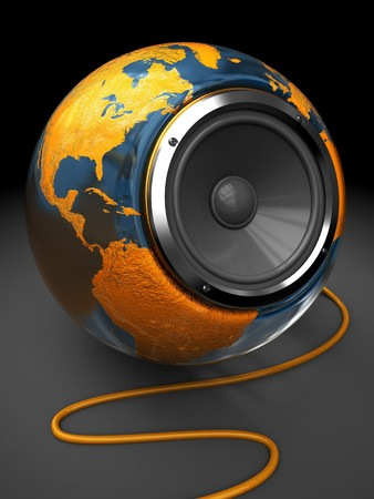 sudio: abstract 3d illustration of earth globe with audio speaker inside