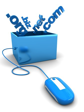abstract 3d illustration of computer mouse connected to box with domain names Stock Illustration - 6895067