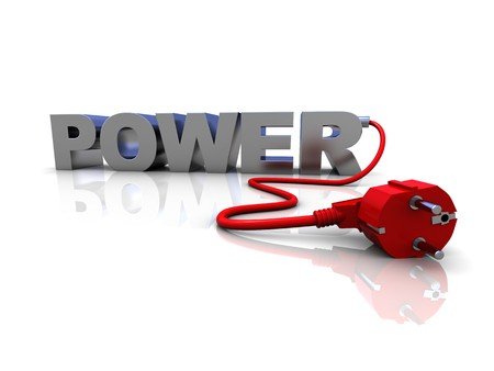 abstract 3d illustration of text 'power' and electric cable Stock Illustration - 6895084