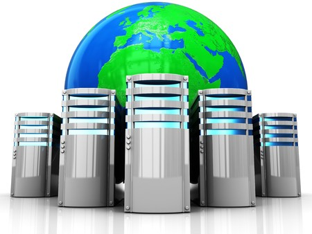 abstract 3d illustration of internet servers and earth globe Stock Photo
