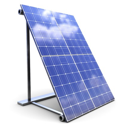 produce energy: 3d illustration of solar panel over white background Stock Photo