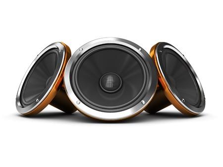 3d illustration of three audio speakers over white background illustration