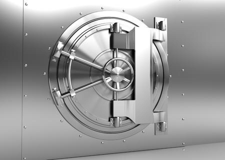 caja fuerte: Ilustraci�n 3D de puerta de b�veda de acero de Banco Foto de archivo