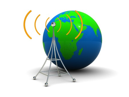 wireless tower: 3d illustration of radio antenna symbol with earth globe Stock Photo