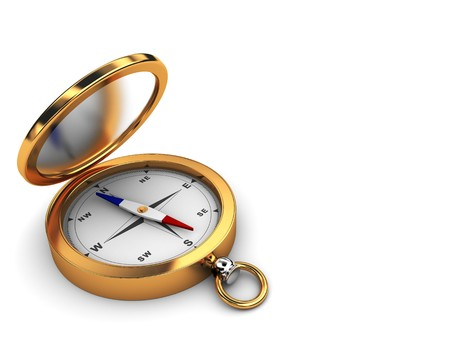 3d illustration of white background with compass at left side Stock Illustration - 6895136