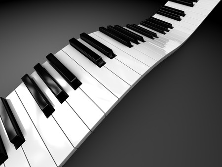 abstract 3d illustration of curved piano keyboard Stock Illustration - 6895132