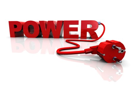 abstract 3d ilustration of text 'power' with electrical cable Stock Photo - 6895145