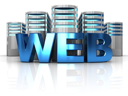 web hosting: abstract 3d illustration of internet servers and text web Stock Photo