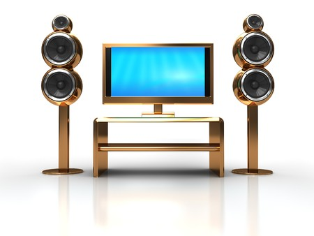 3d illustration of home theater electronics over white background illustration
