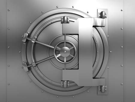 locked: 3d illustration of bank vault door, front view