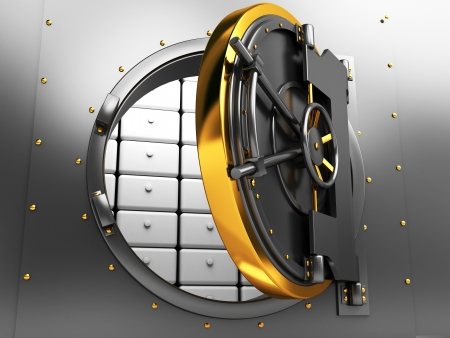 3d illustration of opened bank vault door