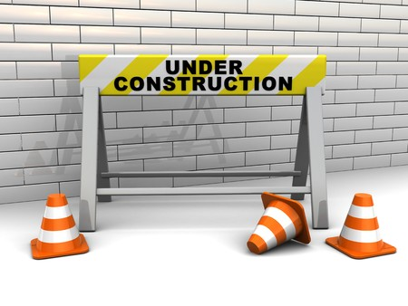 3d illustration of under construction banner and traffic cones illustration