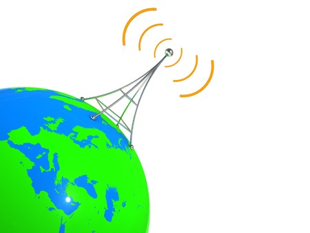 radiative: abstract 3d illustration of earth globe with broadcasting antenna on it
