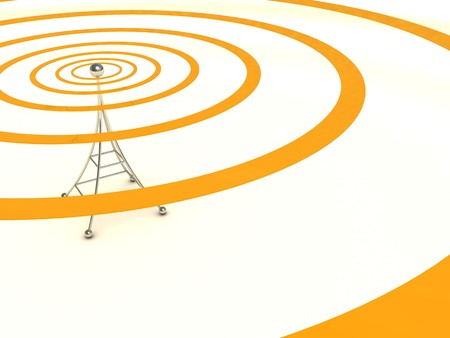 wireless tower: abstract 3d illustration of broadcasting antenna background Stock Photo