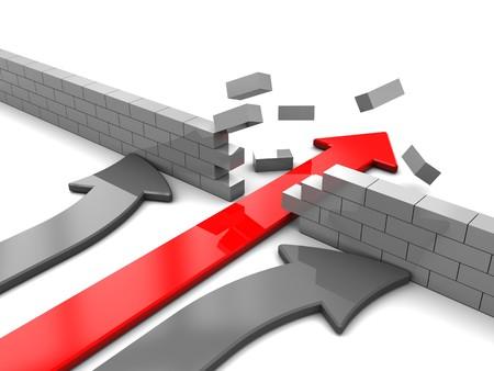 abstract 3d illustration of arrow breaking break wall, power solution concept illustration